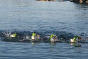 Les quatre pionniers de l'Ultraswimrun qui nagent ensemble